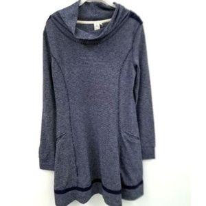 Paper Crane Long Sleeve Crochet Sweater Dress